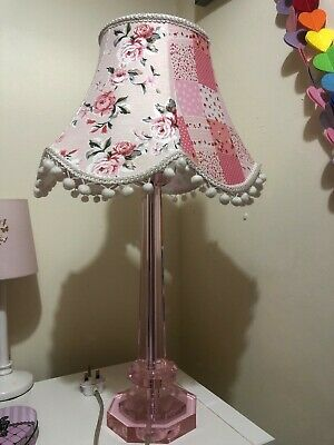 45cm PINK CRYSTAL GLASS TABLE BEDSIDE LAMP BASE With Pink Patterned Lampshade, • 48£