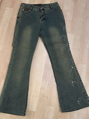 Ladies 1990s WZL Beaded And Embelished Bootcut Jeans Size 10 • 10£