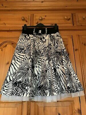 River Island Black And White Skirt With Net Under Lay  Size 12 • 3.95£
