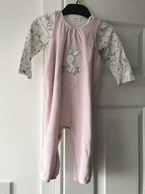 Baby Girls Age 6-9 Months NEXT Pink Valour Feel Bunny Dungaree Romper & Vest  • 1.04£