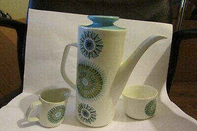 Vintage 70s  J & G Meakin Aztec Ironstone Coffee Pot ,suger Bowl And Creme Jug . • 14.50£