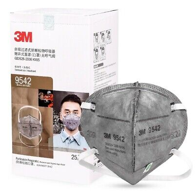 AU89.99 • Buy 25x 3M 9542 KN95 P2 N95 Activated Carbon Particulate Respirator Face Mask 25PCS