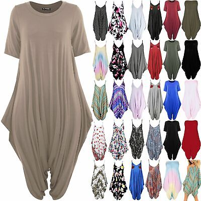 Womens Playsuit Italian Drape Ladies Baggy Lagenlook Harem 3/4 Sleeve Jumpsuit • 9.99£