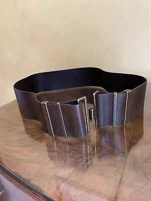 Brown Wide Ladies Leather Belt By M&S Size S/M With Brass Buckle  • 1.10£