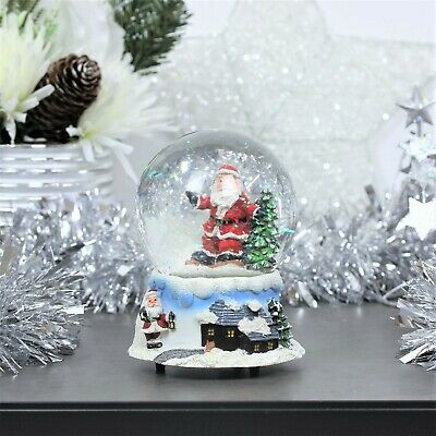 Christmas Decoration Wind Up Musical Santa Claus Snow Globe Shake Glitter Dome • 11.95£