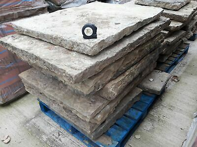 Reclaimed Large York Stone Riven Textured Flags 3  To 4  Thick Per Square Yard • 108£