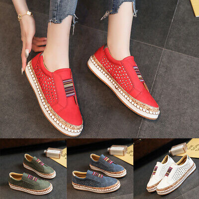 AU28.85 • Buy Women's Loafers Sneakers Ladies Hollow Breathable Platform Casual Shoes Slip On