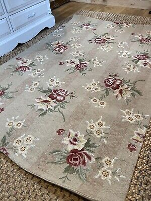 Marks & Spencer's Traditional Vintage Beige Floral 100% WOOL Rug Shabby Chic • 52£