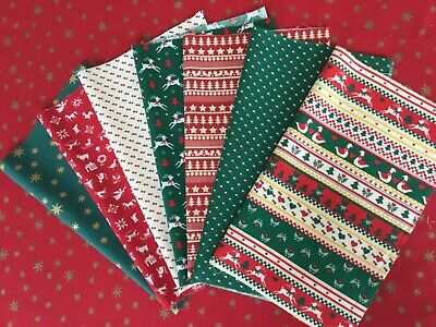 Christmas Fabric Bundle Seven Pieces Patchwork/quilting/bunting 100% Cotton #A • 2.50£
