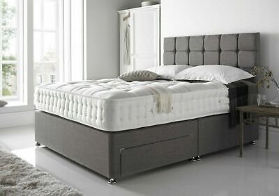 Modern Chenille Fabric Divan Bed Silver Charcoal 3ft 4ft 4ft6 Double 5ft King • 144.99£