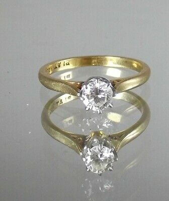 18ct Gold & Platinum Mounted 0.35 Carat Solitaire Diamond Ring Size M 1/2 • 325£