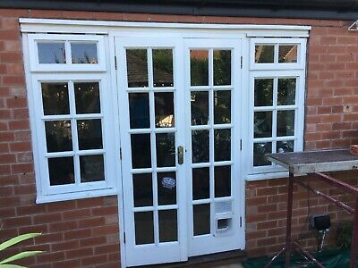 Used French Patio Doors, In Soft Wood And Single Glazed. • 100£