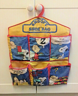 Rare Vintage ~ Snoopy~ Charlie Brown ~ Peanuts ~ Canvas Hanging Shoe Bag • 9.99£