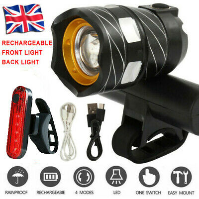 Bicycle Bike Lights MTB Rear/Front Set 15000LM Headlight USB Rechargeable UK • 10.39£