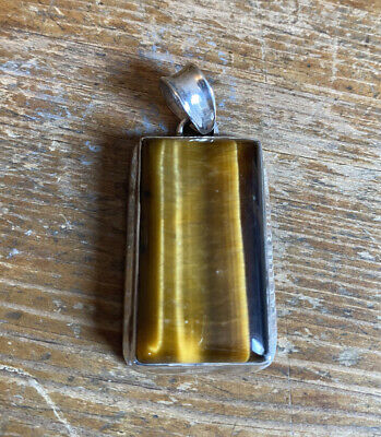Sterling Silver 925 Tigers Eye Pendant For Necklace Vintage  • 25£