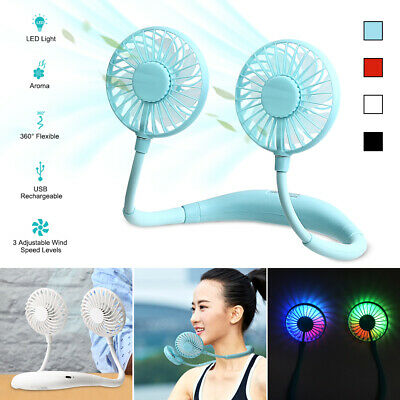 AU17.85 • Buy Hanging Neck LED USB Rechargeable Travel Sports Lazy Portable Fan Creative Tool