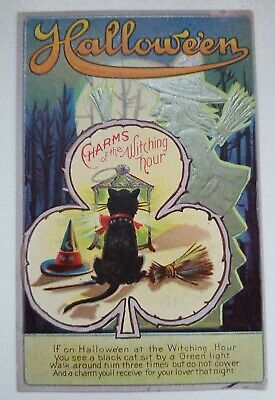 $ CDN62.81 • Buy CHARMS OF THE WITCHING HOUR SILVER WITCH - BLACK CAT Halloween Vintage Postcard