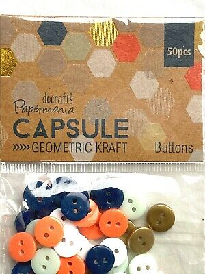 £3.50 • Buy Papermania Geometric Kraft Buttons 50pcs Capsule Collection Craft Embellishments