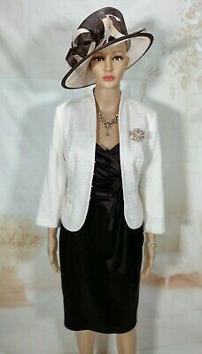 Ladies Ivory & Brown Dress And Jacket Wedding Outfit Size UK10 • 29.99£