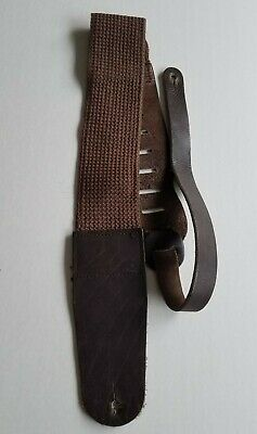 $ CDN22.35 • Buy Vintage Brown Leather And Cloth Guitar Strap 3 Inces Wide.