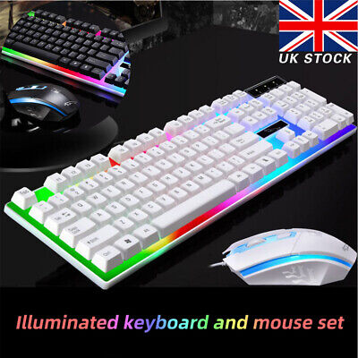 USB Gaming Keyboard & Mouse Wired Rainbow RGB LED Backlit For PC Laptop Computer • 10.69£