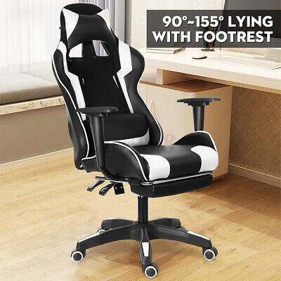 Computer Gaming Office Chair Executive Recliner Footrest Chairs PU Leather Seat • 106.50£