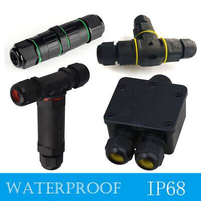 Waterproof IP68 Outdoor 3 Way Junction Box 3 Pin Electrical Cable Wire Connector • 5.39£