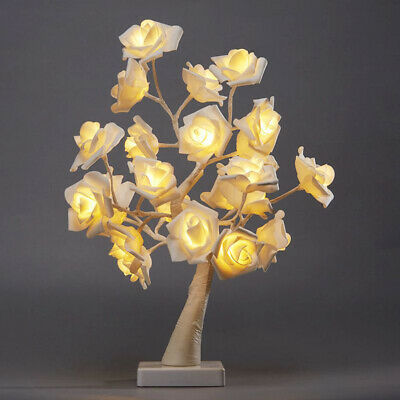 45CM Rose Tree Ornaments USB Gift Wedding 24 LED Decoration Table Lamp • 19.43£
