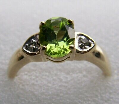 9K Gold Peridot And Topaz Ring Size N1/2- New • 59£