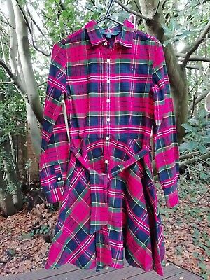 Polo Ralph Lauren Age 14 Dress Tartan Plaid Check Red With Belt And Pockets • 8.99£
