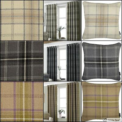 Aviemore CHECKED Ready Made LINED Eyelet Ring Top Curtains 100% POLYESTER • 59.99£