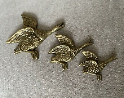 3 Vintage Brass Wall Hanging Flying Ducks / Geese • 15£