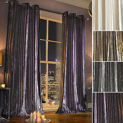 Kylie Minogue Iliana Velvet Lined Ready Made Ring Top Eyelet Long Heavy Curtains • 138.60£