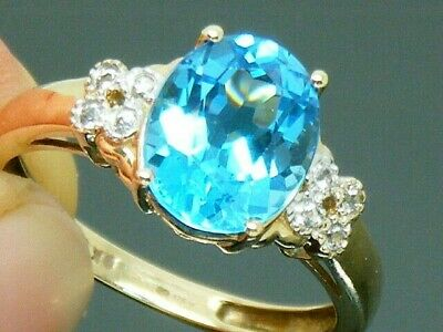 9ct Gold Blue & White Topaz Hallmarked Ring Size O • 165£