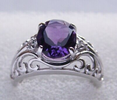 9K Amethyst White Gold Ring - Size N1/2 - New • 69£