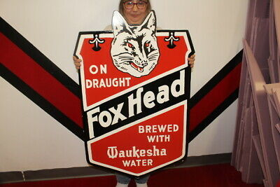 $ CDN265.29 • Buy Large Fox Head Beer On Draught Gas Oil 2 Sided 38  Porcelain Metal Sign