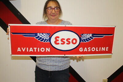 $ CDN64.75 • Buy Large Esso Aviation Gasoline Airplane Gas Airport 34  Porcelain Metal Sign