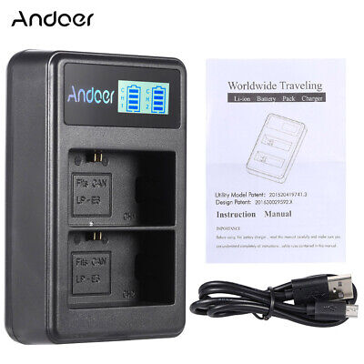 Andoer LP-E6 Battery Dual Charger For Canon EOS 6D 7D 70D 60D 5D Mark Ⅱ Ⅲ O1F0 • 5.99£