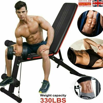 Adjustable Weight Bench Fitness Home Training Gym Utility Exercise Bench Press • 49.99£
