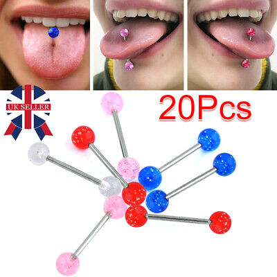 20 X Colorful Flexi Glitter Tongue Rings Body Piercing Jewelry Tounge Bars Cool • 1.99£