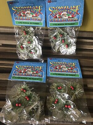 $ CDN9.35 • Buy Vintage Silver Christmas Tree Decorations Instruments Unused X 4 Packets