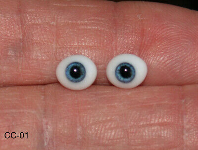 £8.99 • Buy Glass Doll Eyes One Pair 6mm Solid Oval Flat Backed Eyes Ooak Reborn Clay Doll