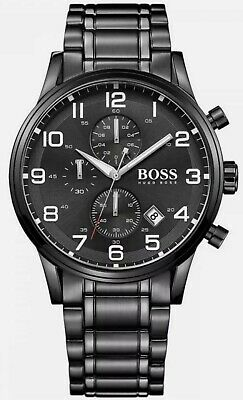 Hugo Boss  HB1513180 Men's Aeroliner Black Face Black Bracelet Chronograph Watch • 71£