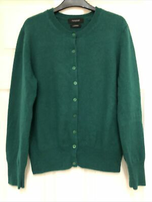 Marks And Spencer Autograph Green Cashmere Button Crew Neck Cardigan, Size 12 • 11.50£