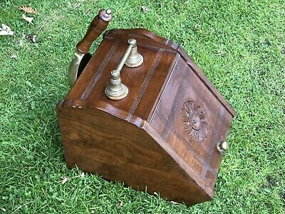 Antique Victorian Mahogany Coal Scuttle With Metal Insert And Brass Shovel • 75£