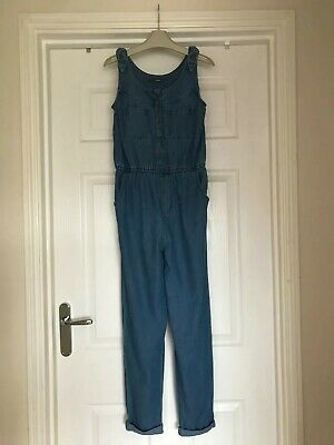 Girls Full Length Denim Dungarees Age 9-10 Years From Asda In Good Condition • 2£