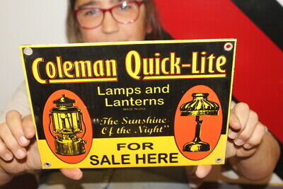 $ CDN20.72 • Buy Coleman Quick-Lite Lamps & Lanterns Hunting Fishing Gas Oil Porcelain Metal Sign