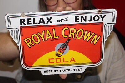 $ CDN13.97 • Buy Relax & Enjoy RC Royal Crown Cola Soda Pop Gas Oil Porcelain Metal Sign