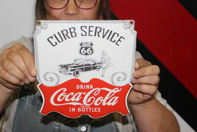 $ CDN34.75 • Buy Coca Cola Route 66 Curb Service Restaurant Soda Pop Gas Oil Porcelain Metal Sign