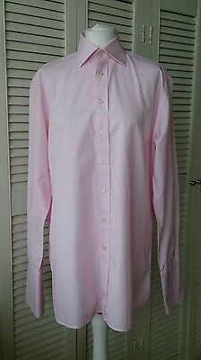 Austin Reed Luxury Two Fold Pink Stripe French Double Cuff Formal Shirt 15 1/2  • 16£